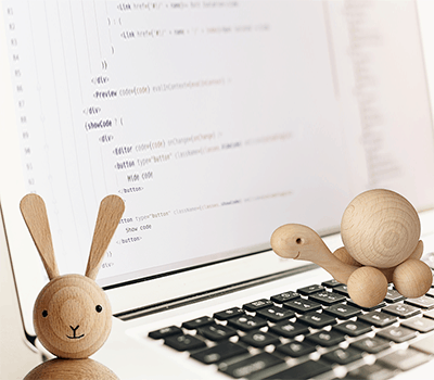 Laptop with code, wooden figures bunny turtle - bimodale-it