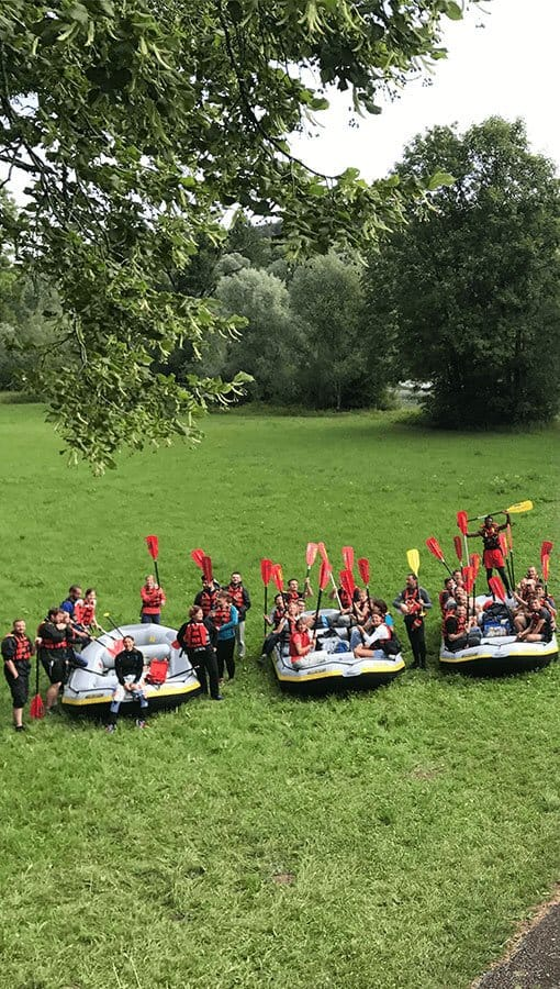 Teamevent iS2 AG Rafting auf der Isar